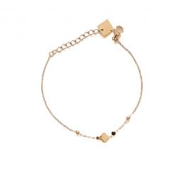 Armband goud dichte klaver zwarte beads – ZAG Bijoux