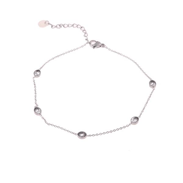 zilveren enkelband zirkonia