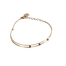 Dubbele armband paarse beads goud – ZAG Bijoux