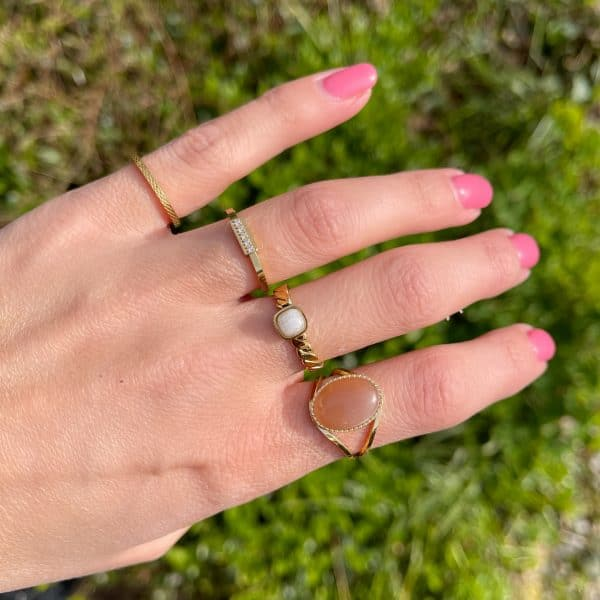 Made by Mila | Ring goud 'Tube Crystal' - Charmin's 2