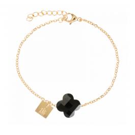 Armband goud klaver zwart – ZAG Bijoux