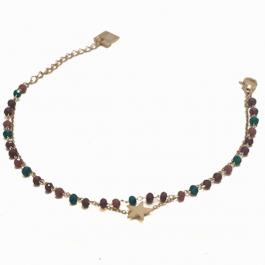 Dubbele armband purple aqua star goud – ZAG Bijoux