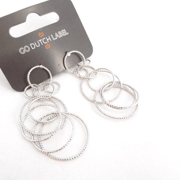 Made by Mila | Oorbellen bijoux cirkels zilver - Go Dutch Label 1