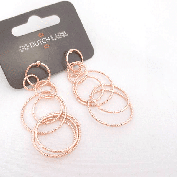 Made by Mila   Oorbellen bijoux cirkels rose goud - Go Dutch Label 1