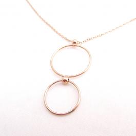 Ketting cirkels rose goud (lang) – Go Dutch Label