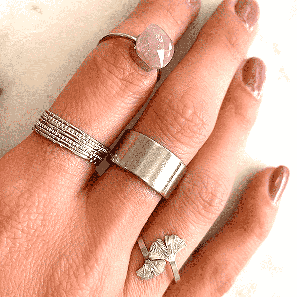 Made by Mila | Ring roze steen zilver - Mila 1