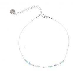 Enkelbandje zilver met aqua beads – Go Dutch Label