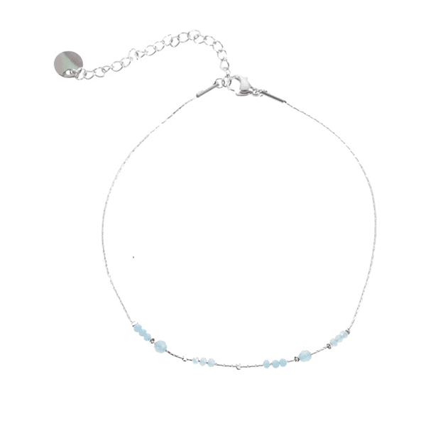 Made by Mila | Enkelbandje zilver met aqua beads – Go Dutch Label 1