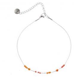 Enkelbandje zilver met coral beads – Go Dutch Label