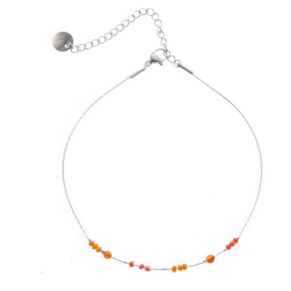 Made by Mila | Enkelbandje zilver met coral beads - Go Dutch Label 1