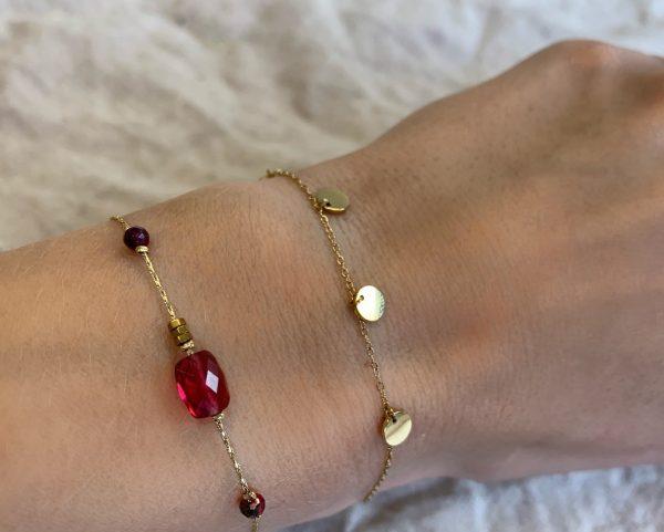 Made by Mila | Armband fuschia beads goud - Go Dutch Label 2