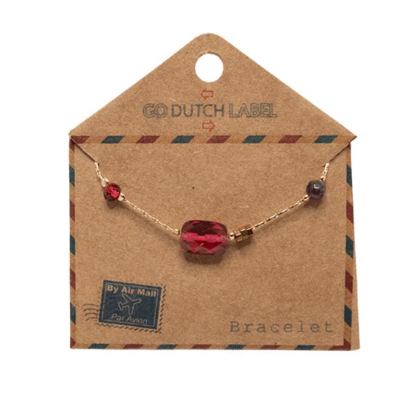 Made by Mila | Armband fuschia beads goud - Go Dutch Label 4