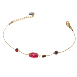 Armband fuschia beads goud – Go Dutch Label