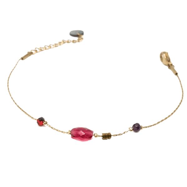Made by Mila | Armband fuschia beads goud - Go Dutch Label 1