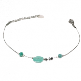 Armband aqua beads zilver – Go Dutch Label