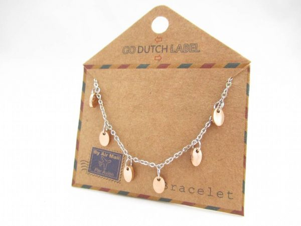Made by Mila | Armband coins zilver/rose goud - Go Dutch Label 2