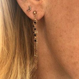 Oorbellen chain zwart rose goud – Go Dutch Label