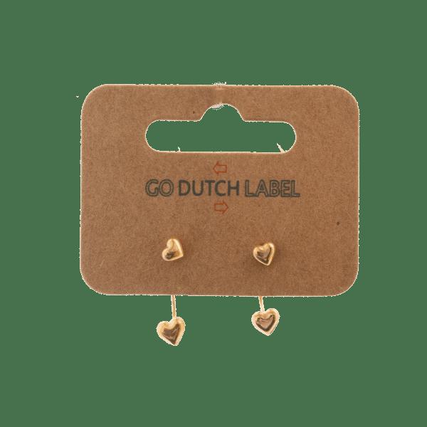 Made by Mila | Oorbellen dubbele sluiting hartje goud - Go Dutch Label 2