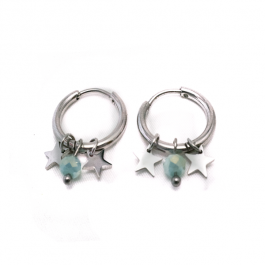 Oorbellen Stars & Beads mint  zilver – Go Dutch Label
