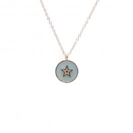 Ketting star stone aqua gold – ZAG Bijoux