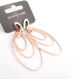 Oorbellen hangers ovaal rose goud – Go Dutch Label