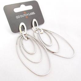 Oorbellen hangers ovaal zilver – Go Dutch Label