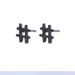 Oorbellen hashtag # zwart/gun metal – Go Dutch Label