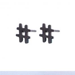 Oorbellen hashtag # zwart/gun metal – Go Dutch Label
