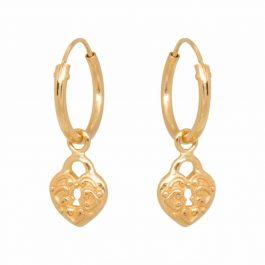 Heart lock hoops gold oorbellen – Eline Rosina