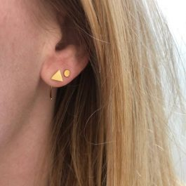Oorbellen earhugger driehoek goud – ZAG Bijoux