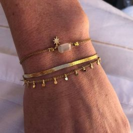 Dubbele armband naturel goud – Go Dutch Label