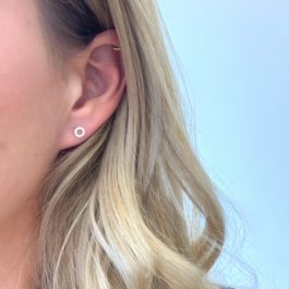 Zirconia circle earrings sterling silver – Eline Rosina oorbellen