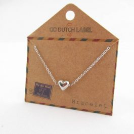 Armband hartje (3D) zilver – Go Dutch Label