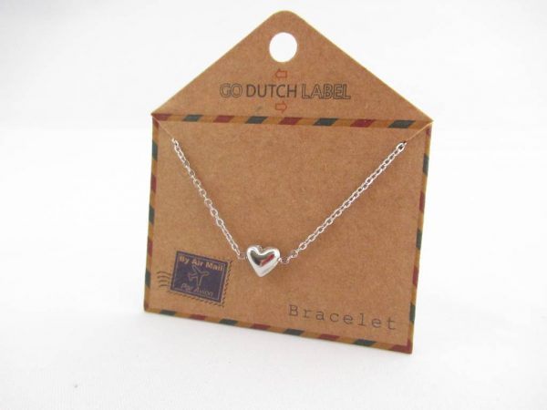 Made by Mila | Armband hartje (3D) zilver - Go Dutch Label 3
