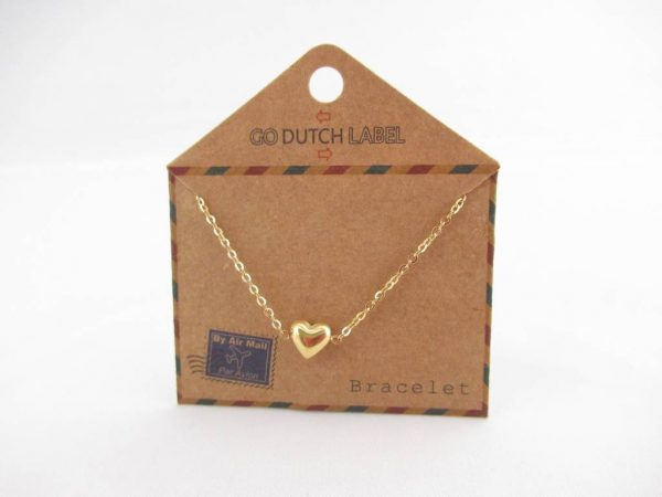 Made by Mila | Armband hartje (3D) goud - Go Dutch Label 3