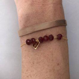 Armband beads zilver/robijn rood – ZAG Bijoux