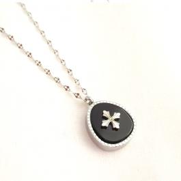 Ketting black silver drop stone – ZAG Bijoux
