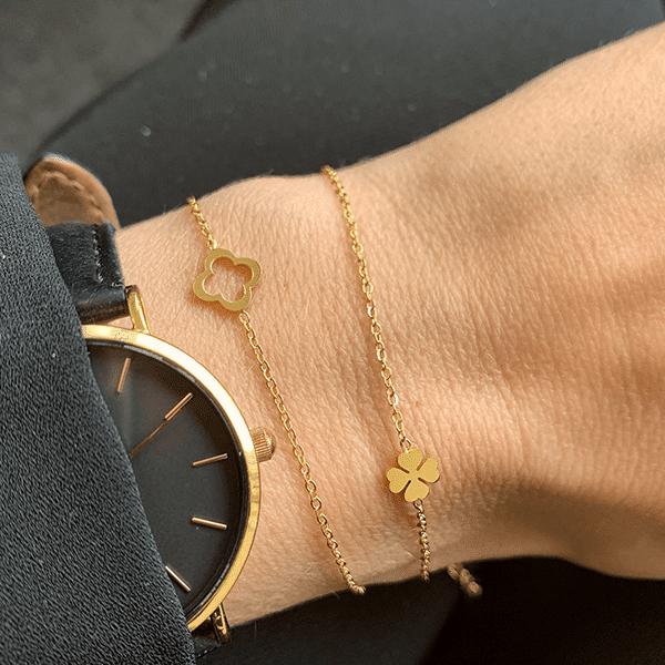 Made by Mila | Armband dichte klaver goud - Go Dutch Label 2