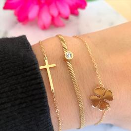 Flat swarovski goud armband – ZAG Bijoux