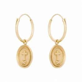 Cross coin hoops sterling gold – Eline Rosina