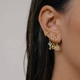 Heart lock hoops zilver oorbellen – Eline Rosina