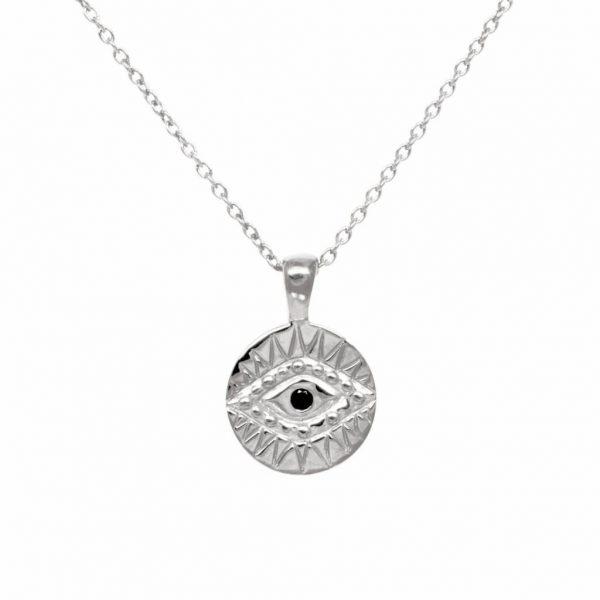 Made by Mila | Black zirconia eye necklace gold - Eline Rosina ketting 1