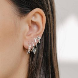 Eline Rosina oorbellen – Five stoned black zirconia hoops in sterling silver
