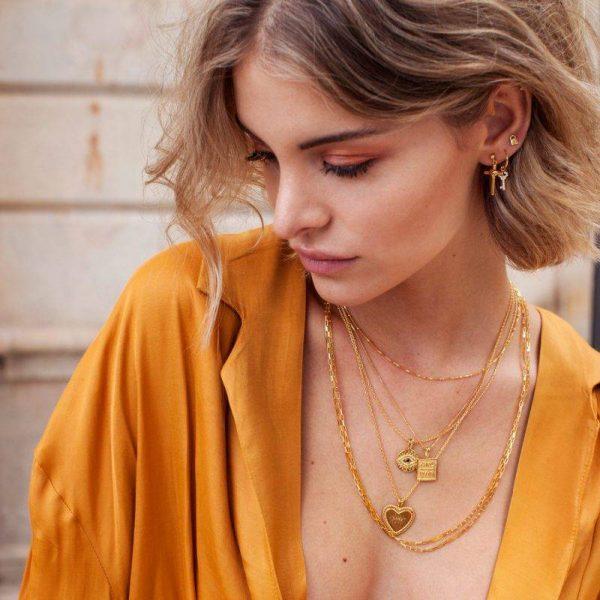 Made by Mila | Black zirconia eye necklace gold - Eline Rosina ketting 2