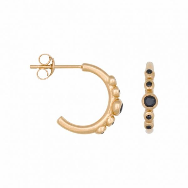 Made by Mila | Eline Rosina oorbellen - Five stoned black zirconia hoops in gold 1