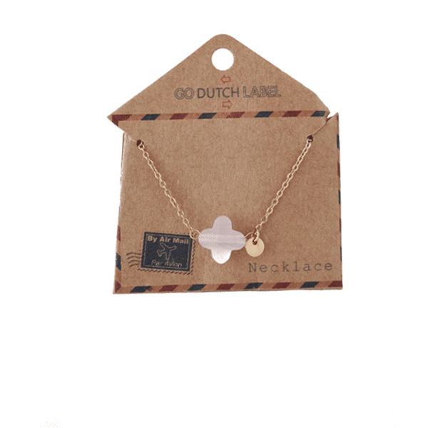Made by Mila | Ketting klaver roze goud - Go Dutch Label 1