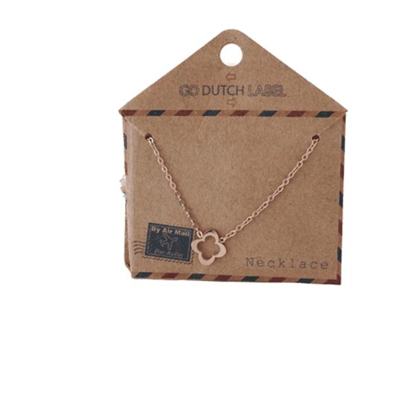 Made by Mila | Kettingen open klaver rose goud - Go Dutch Label 3