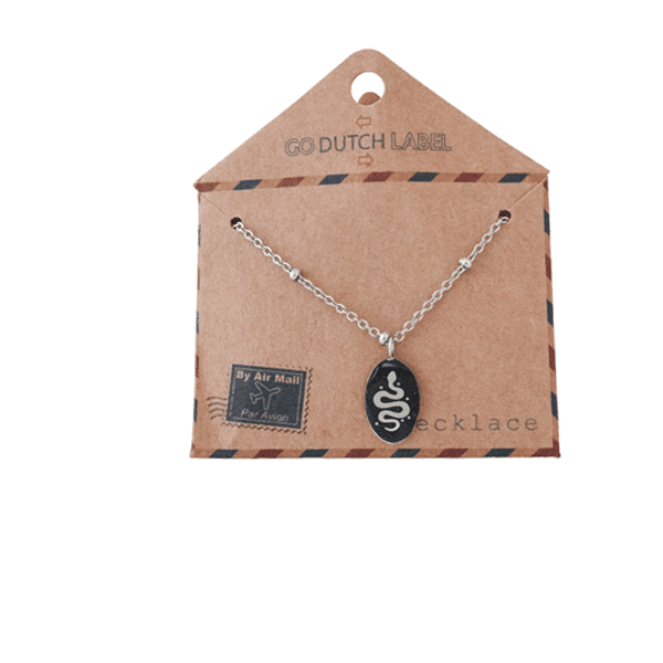 Made by Mila | Ketting medaillon klein met slang zilver - Go Dutch Label 2