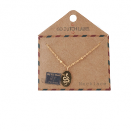 Ketting medaillon klein met slang  rose goud – Go Dutch Label