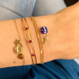Dubbele armband north star donkerblauw/goud – ZAG Bijoux